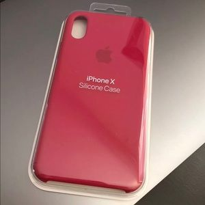 2bb9a5036916f Accessories - Apple iPhone X Silicone Case Rose Red